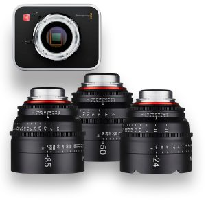 KIT Blackmagic Cinema Camera 2.5K + 3 objetivas XEEN Cine Prime - THUMB - Digital Azul