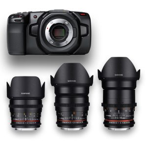 Blackmagic Pocket + 3 Objetivas - Lenses - Rokinon - Samyang - MFT - for rent at DigitalAzul