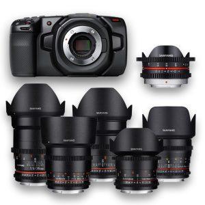 Blackmagic Pocket + 6 Objetivas - Lenses - Rokinon - Samyang - MFT - for rent at DigitalAzul